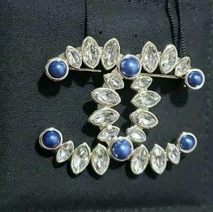 CHANEL Classic CC Gold Blue Pearl Crystal Brooch
